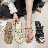 夾腳鉚釘涼拖鞋女外穿夏季平底防滑海邊沙灘拖鞋【桃可可服饰】
