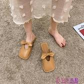包頭拖女2021年春季新款時尚百搭拖鞋蝴蝶結簡約純色女士半拖女鞋可批發量販【公主日記】
