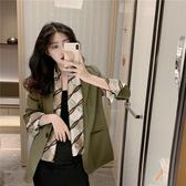 網紅休閒小西裝外套女2020新款韓版寬鬆顯瘦百搭中長款西服女上衣