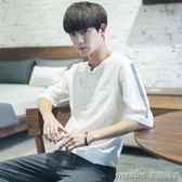 夏季男士短袖T恤韓版夏天白色寬鬆七分袖體恤夏裝五分袖衣服潮 美芭