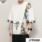 棉麻上衣 短袖T恤男寬鬆ins男裝2021新款夏季大碼韓版潮流胖子半袖衣服 酷男