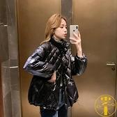 棉服菱形格紋立領女冬裝外套插肩袖直筒棉衣【雲木雜貨】