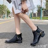 裸靴 韓版馬丁靴女2021新款百搭秋冬季英倫風粗跟平底裸靴鉚釘短靴女鞋 小天使