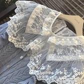 蕾絲上衣 蕾絲大翻領打底衫女秋冬新款透視娃娃領網紗內搭小衫洋氣長袖上衣 萊俐亞 交換禮物