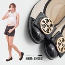 [Here Shoes] 零碼36-39 5cm 舒適乳膠鞋墊 中國風圖騰金屬蝴蝶結楔型厚底 坡跟娃娃鞋 MIT台灣製─KN855
