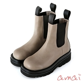 amai經典個性厚底切爾西靴(短筒) 灰