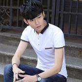 森雅誠品 男士短袖T恤夏季有領純棉翻領POLO衫潮男裝青少年學生帶領上衣服
