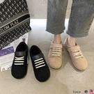 熱賣魔術貼鞋 簡約絨面毛毛鞋女2021冬季新款百搭網紅魔術貼加絨平底一腳蹬棉鞋 coco