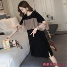 雪紡洋裝 夏季正韓時尚雪紡前后拼接閨蜜裝開叉黑色短袖T恤裙氣質洋裝女-Ballet朵朵
