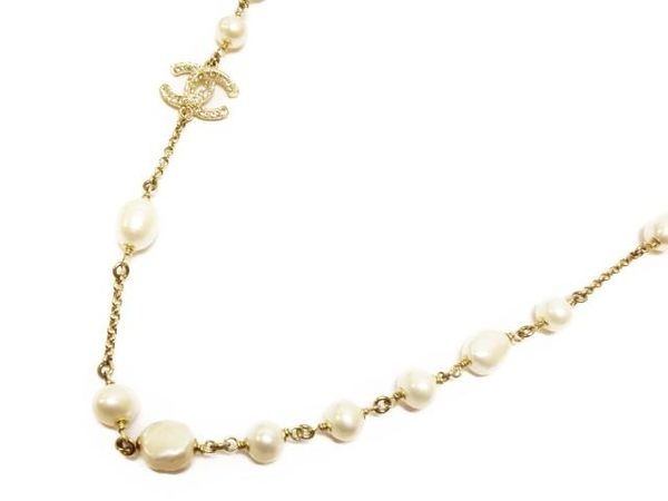 CHANEL 鑲鑽珍珠造型長項鍊 金色 Necklace 2010 【BRAND OFF】
