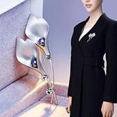 日韓版高檔女士珍珠貝殼水鑽胸針 歐美風葉子貝珠胸花別針配飾品  電購3C