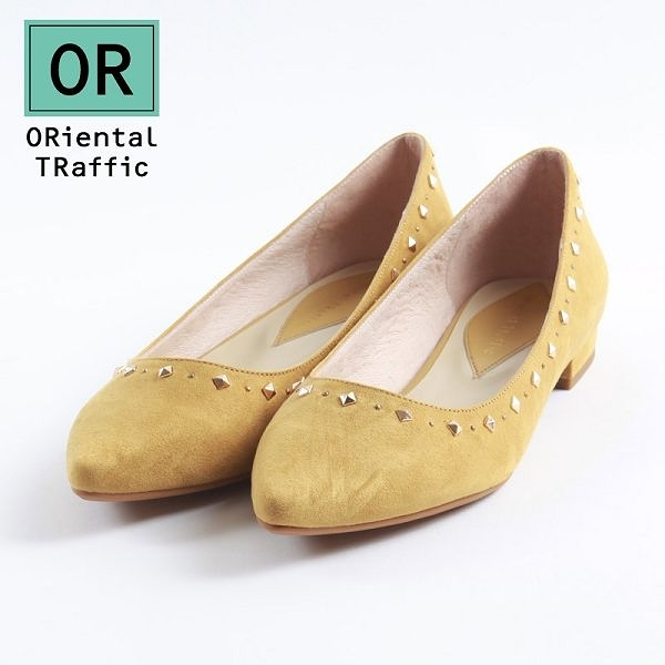 【ORiental TRaffic】幾何金屬鉚釘尖楦包鞋-活潑黃