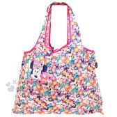 〔小禮堂〕迪士尼米妮折疊式環保 袋~M 桃藍大臉繽紛花朵~4543479 14268