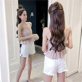 背心吊帶 夏季無袖v領露肩格子小心機上衣女收腰短款外穿