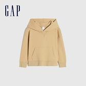Gap男幼童 簡約風純色運動連帽休閒上衣 747179-駝色