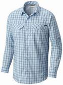 【Columbia】男款防曬40快排長袖襯衫 - 藍色格紋AE1282(JC)