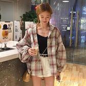 夏季女裝韓版中長款燈籠袖格子翻領長袖襯衣寬鬆休閒襯衫上衣外套      麥吉良品