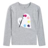 Gap 女孩 可愛雙面亮片圓領長袖T恤 499201-淺麻灰色