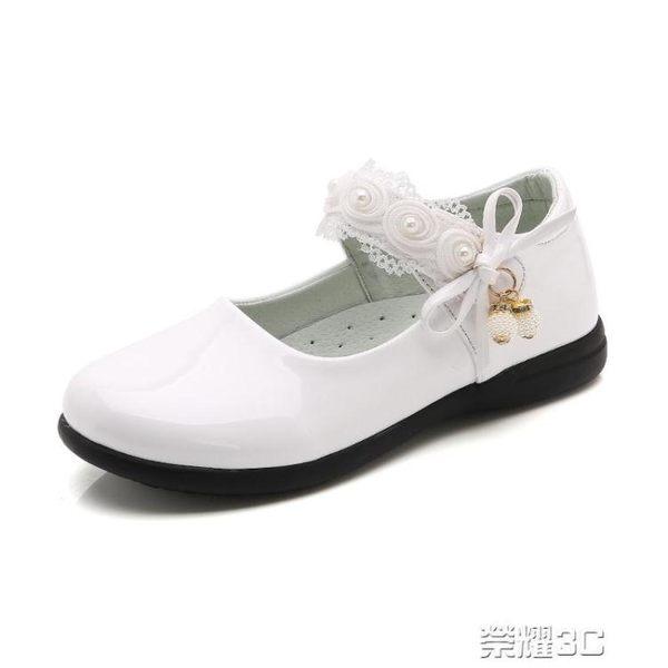 公主鞋 童鞋女童黑皮鞋演出鞋春秋軟底兒童單鞋學生白色女孩公主鞋 新品