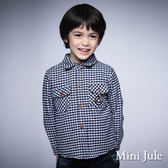《Mini Jule 男童》襯衫 搖粒絨格紋雙口袋棉質長袖襯衫(寶藍)