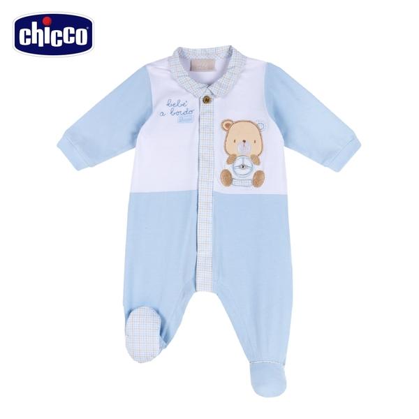 chicco 駕駛小熊-格紋領剪接前開長袖兔裝