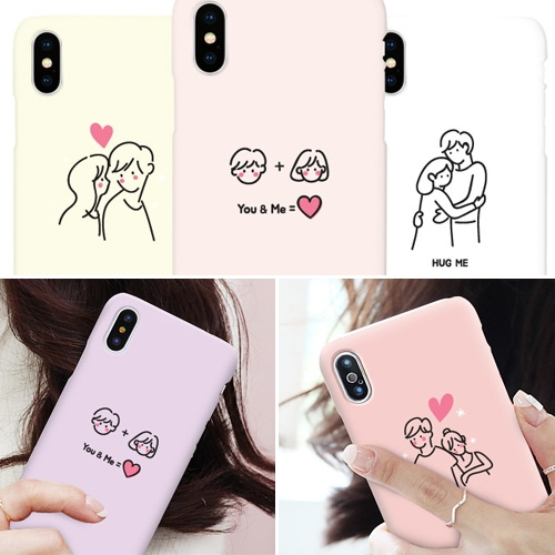 韓國 情侶插畫 硬殼 手機殼│iPhone 6 6S 7 8 Plus X XS MAX XR 11 Pro LG G7 G8 V40 V50│z8826