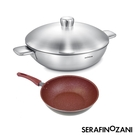 【SERAFINO ZANI 尚尼】健康恆溫雙耳炒鍋麥飯石不沾平底鍋雙鍋組
