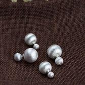 925純銀耳環-雙珠銀色拉絲時尚生日情人節禮物女飾品2款73uv37[時尚巴黎]