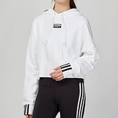 Adidas Originals 女款 白色 短版 休閒 連帽 上衣 EJ8536