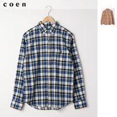 棉麻 格紋 長袖襯衫 男 免運費 日本品牌【coen】