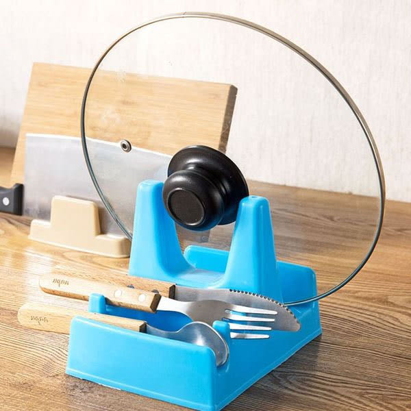 Qmishop 帶接水盤鍋蓋架塑料砧板架 廚房放鍋蓋的架子菜板架置物架【QJ2136】