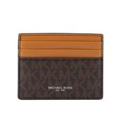 【MICHAEL KORS】PVC拚皮革6卡Harrison名片卡夾(薑黃/咖啡色) 36F9LHRD2O BRNOC