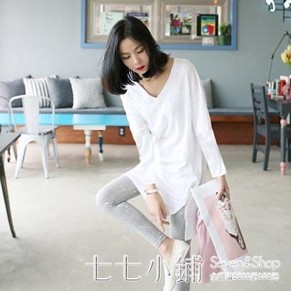 秋白色t恤女長袖寬鬆中長款v領竹節棉打底衫韓版簡約體恤新款上衣