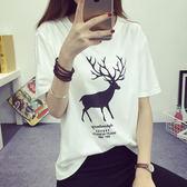 DE SHOP~韓版經典百搭寬鬆小鹿短袖T恤女(T-075)均碼