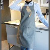 圍裙牛仔圍裙花藝咖啡美甲奶茶餐廳家居男女廚房正韓時尚工作定制(中秋烤肉鉅惠)