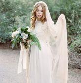 新款香檳色簡約3米軟頭紗新娘結婚禮服配件 LQ4730『夢幻家居』