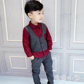 男童禮服小西裝兒童西服男孩馬甲兩件套冬季寶寶花童套裝4-7歲 DJ1958『毛菇小象』