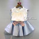 女童洋裝 韓版甜美緹花領荷葉無袖襯衫+珍...