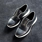 真皮皮鞋-鬆緊帶套腳黑白撞色時尚百搭男休閒鞋73kv33[巴黎精品]