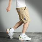 夏季工裝褲男士短直筒寬鬆黑色卡其色休閒運動五分褲中褲馬褲 快速出貨