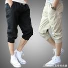 七分褲男短褲七分夏季休閒運動褲跑步寬鬆哈倫褲7分褲韓版修身男士短 快速出貨