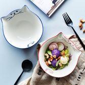 手繪貓咪陶瓷碗可愛卡通寶寶輔食碗米飯拌面碗水果沙拉碗【無趣工社】