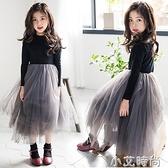 女童洋裝秋裝2020新款女孩兒童蓬蓬紗裙子中大童裝洋氣公主長裙 小艾新品