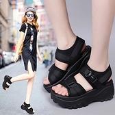 鬆糕涼鞋 新款涼鞋女式夏厚底增高坡跟鬆糕運動休閒羅馬搖搖沙灘鞋 交換禮物