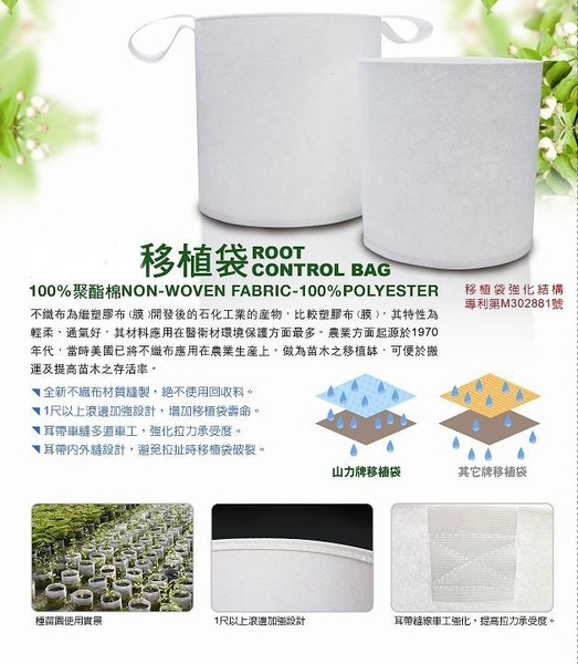 【綠藝家】移植袋.美植袋2尺(有耳帶)//型號PB20