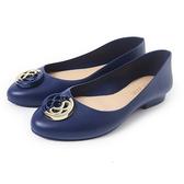 Petite Jolie 雙色金屬感LOGO果凍娃娃鞋-靛藍