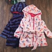 兒童睡袍浴袍嬰兒兒童連帽家居袍珊瑚絨男女寶寶冬季家居服睡袍1歲-16歲出口款