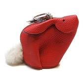 LOEWE 羅威 紅色牛皮兔子零錢包 Bunny Charm Coin Purse【二手名牌 BRAND OFF】
