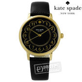 kate spade / 1YRU0790 / 紐約時尚花朵綻放百搭真皮手錶 黑x金 34mm