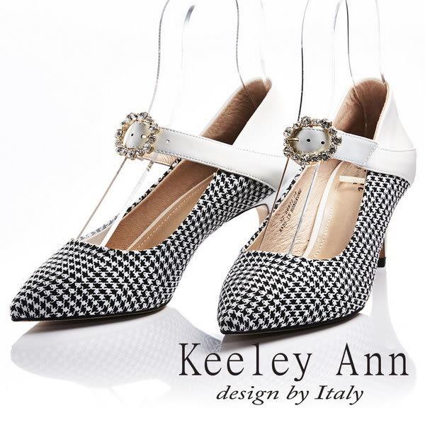 ★2018春夏★Keeley Ann獨特魅力~千鳥格紋水鑽花真皮軟墊尖頭細跟鞋(白色) -Ann系列
